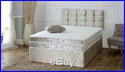 Solid Heavy Duty Reinforced Divan Bed Luxury Crushed Velvet 6ft Super King Size