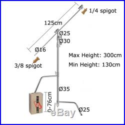 Super Heavy Duty 300cm Solid Pro C-stand W125cm Solid Boom Arm Set Sliding Leg