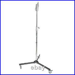 Super Heavy Duty Wheeled Movable Stainless Steel Metal Tube Light Stand 238cm