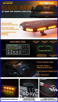 Upgraded Hawk 48 Rooftop LED Light Bar Security Emergency Warning Heavy-Duty