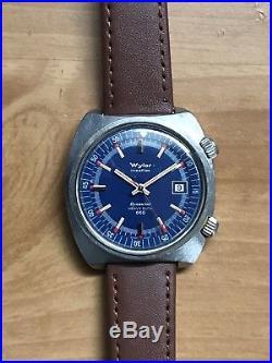 Vintage Wyler Dynawind Heavy Duty 660 SS Steel Super Compressor Diver Watch