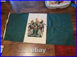 Vtg Rhodesian Flag, 6ftx3ft, Heavy Duty. Super Rare! Double sided