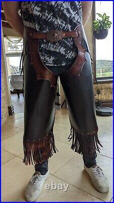Western chinks brown leather Super Heavy Duty by Fangorn Ranch